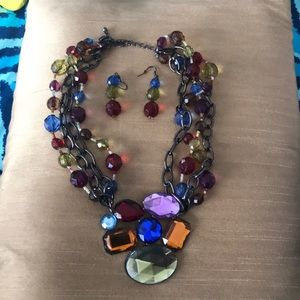 Gently used multi color necklace/earring set